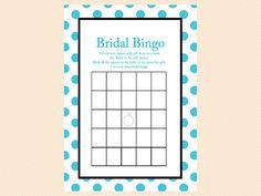 Bingo Bridal Gift Bingo Game Turquoise Bridal by MagicalPrintable