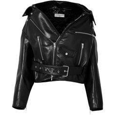 Balenciaga Swing oversized leather biker jacket (4,430 CAD) ❤ liked on Polyvore featuring outerwear, jackets, coats, coats & jackets, black, leather jackets, motorcycle jacket, asymmetrical zipper jacket, real leather jackets and leather motorcycle jacket