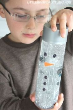 Snowman sensory bottle or maelting snowman activity for kidsTap the link to check out great fidgets and sensory toys. Check back often for sales and new items. Happy Hands make Happy People! Sensory Bags, Sensory Bottles, Baby Sensory, Sensory Activities, Infant Activities, Sensory Table, Infant Sensory, Snow Activities, Sensory Play