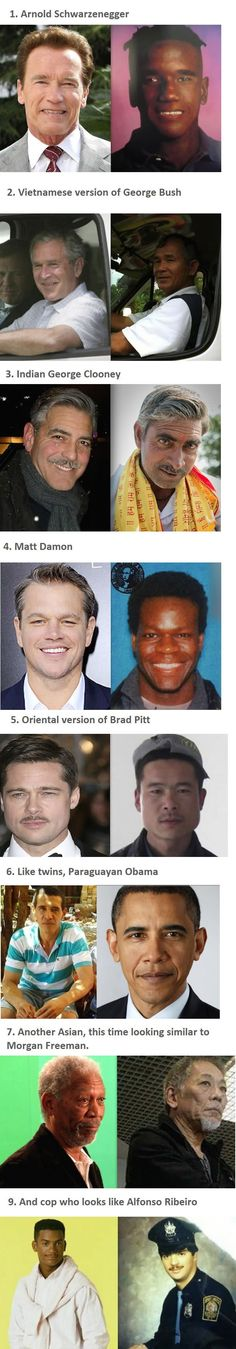 Famous people that have look-alikes from other races