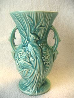 Vintage McCoy Pottery Vase Peacock Bird Turquoise Aqua