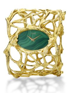 Piaget cuff watch in yellow gold and malachite