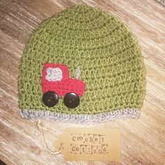 Crochet Tractor Hat by CrochetCottageGifts on Etsy Tractors, Crochet Hats, Beanie, Cottage, Trending Outfits, Unique Jewelry, Handmade Gifts, Etsy, Shopping
