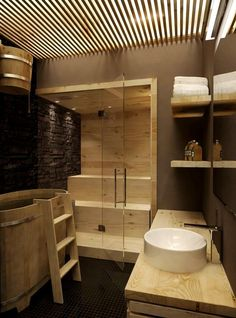 Steam rooms or Home Saunas. The perfect way to relax. 10 Amazing Home sauna or steam room Ideas and Designs for indoor and outdoor relaxation at home. Scandinavian Bathroom Design Ideas, Modern Bathroom Design, Modern House Design, Modern Sink, Scandinavian Modern, Saunas, Wooden Bathroom, Bathroom Spa, Bathtub Shower
