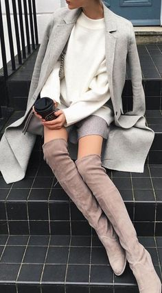 #fall #outfits Grey Coat // White Knit // Grey Skirt // Beige Over The Knee Boots