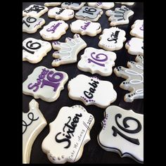 7 dozen cookies for a large Sweet 16 party yesterday. Simple and sweet! I hope you enjoyed your party! Sweet 16 Birthday, Happy Birthday, Colorful Birthday, 16th Birthday, Cake Table Birthday, Birthday Cookies, Iced Sugar Cookies, Royal Icing Cookies, Sweet Sixteen Themes
