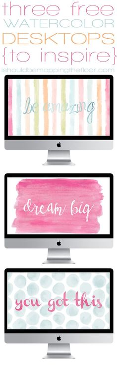 3 Free Watercolor Desktop Wallpapers ~ standard sized instant downloads | http://ishouldbemoppingt...