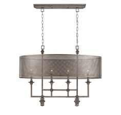 This Savoy House Structure 4-light linear chandelier is a bold introduction designed by Raymond Waites that boasts a detailed aged steel finish, a metal mesh shade and a bold, open look. This distinctive collection has an edgy architectural allure. Use a