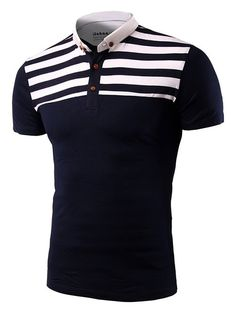 Casual Stripe Spliced Turn-Down Collar Short Sleeve T-Shirt For Men