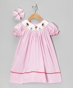 Loving this Molly Pop Inc. Pink Ostrich Dress & Bow Clip - Infant, Toddler & Girls on #zulily! #zulilyfinds