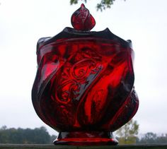 Vintage Fenton Royal Ruby Red Swirl Bowl/Dish with Lid Candy Compote Glass Jar