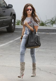 Ashley Tisdale - love the louboutin boots, love the alexander wang bag, love the acid wash jeans and the wayfarers!!!!!