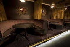 Malt Supper Club | Furniture Options. Large round booths for bar.