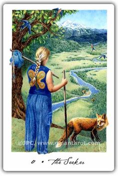 The Seeker's Journey e-Course --- The Seeker, from the Gaian Tarot Deck by Joanna Powell Colbert. Image used with permission. Gaian Tarot, Oracle Tarot, Tarot The Fool, Tarot Major Arcana, Tarot Readers, Deck Of Cards, Card Deck, Tarot Decks, Archetypes