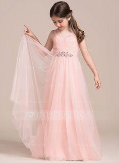 [US$ 74.99] A-Line/Princess Floor-length Flower Girl Dress - Tulle Sleeveless V-neck With Ruffles/Beading/Sequins (010113815)
