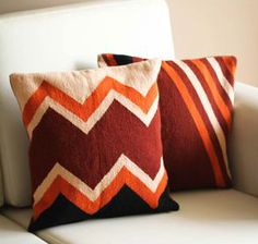 Handmade Peruvian Geometric Wool Cushion Covers (Pair), 'Mountains' Woven of wool with a cotton warp, the covers feature a zipper closure.  #gifts #handmade #covers #cushion #wool #geometric #Peru