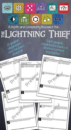 Depth and Complexity graphic organizers for each chapter of The Lightning Thief! $