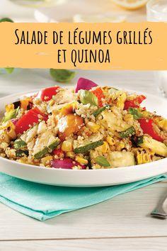 Courgettes, maïs, poivrons et oignons grillés débordent de saveurs dans cette recette facile de salade de légumes et quinoa! Saveur, Pasta Salad, Potato Salad, Potatoes, Camping, Ethnic Recipes, Food, Roasted Vegetable Salad, Zucchini