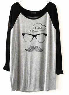 Camiseta gafas contraste manga negra-gris
