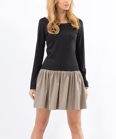 Look at this Black & Cappuccino Drop-Waist Dress on #zulily today!