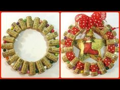 cork wreath with ribbon-center star Christmas Crafts For Kids, Christmas Decorations, Christmas Tree, Holiday Decor, Cork Wreath, Cork Art, Wine Bottle Crafts, Xmas Ornaments, Craft Storage