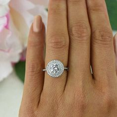 ctw Round Double Halo Promise Ring Engagement Ring Half Eternity Band Man Made Diamond Simulants Wedding Ring Sterling Silver Princess Wedding Rings, Wedding Rings Simple, Wedding Rings Solitaire, Custom Wedding Rings, Princess Cut Engagement Rings, Diamond Wedding Rings, Bridal Rings, Halo Rings, Diamond Rings