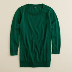 J.Crew Merino Wool Tippi Sweater ($60) ❤ liked on Polyvore featuring tops, sweaters, 3/4 length sleeve tops, layered tops, merino top, green top and merino wool sweater