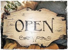 Vintage Style OPEN CLOSED Sign Business French by MyPaintedPorch, $59.95