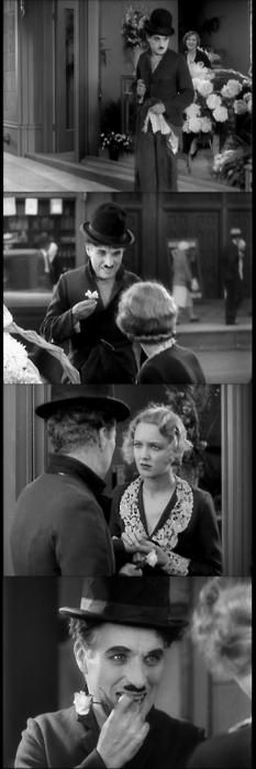 "Flower Girl: ""You?"" // The Tramp: (Nodding) ""You can see now?"" // Flower Girl: ""Yes, I can see now."" - City Lights, 1931  (dir.Charles Chaplin)"