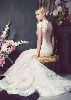 Gorgeous illusion back lace wedding dress by Anna Georgina