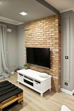 🌟 💖 🌟 💖 The color, stripes, bricks Loft Design, House Design, Tv Unit Furniture, Tv Wand, Diy Projects For Bedroom, Urban Decor, Colourful Living Room, Studio Living, Minimalist Room