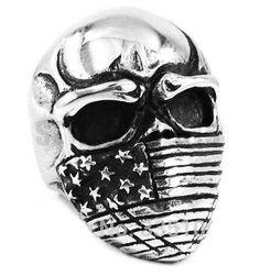 Stainless Steel American Flag Skull Ring