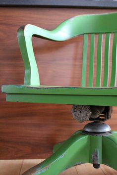 """Kermit the Chair. In her case, it is pretty easy being green!    She's a vintage Gilson Guelph Office Chair, with all original hardware including the casters. She was constructed to last. And green's the color of spring. And green can be cool and friendly-like. And green can be big like a ocean or important like a mountain. Or tall like a tree.  Kermit the Chair…she's looking for a funky owner. $250 {Words from """"It's Not Easy Being Green""""} www.difydesign.com"""