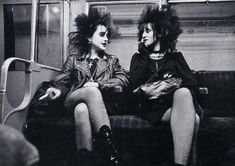 "coolkidsofhistory: "" Punk girls on the tube, London, 1982 """