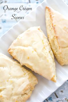 homemade Orange Cream Scones are one of my favorite summer dessert recipes! These tender cream scones are packed with orange flavor and topped with a sweet homemade orange glaze, making them a perfect breakfast, brunch, or dessert! Summer Dessert Recipes, Brunch Recipes, Sweet Recipes, Light Dessert Recipes, Orange Recipes Breakfast, Cocktail Recipes, Köstliche Desserts, Delicious Desserts, Yummy Food