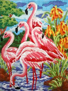 DIY:: Long Stitch - Pink Flamingos :)