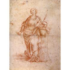 Saint Barbara chalk drawing at 1stdibs