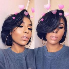 Black Hair Wigs Women Short Wigs with Bangs(Size:With Wig Cap)(Color:Black) Trendfrisuren Bob, akkurater Short Bob Hairstyles, Weave Hairstyles, Relaxed Hair Hairstyles, Spring Hairstyles, Bob Haircuts, Black Hair Wigs, Black Girl Hair Cuts, Curly Hair Styles, Natural Hair Styles