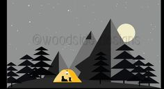Wild Camping Illustration INSTANT DOWNLOAD by tothewoodside - maybe the mural changes from daytime to nighttime?