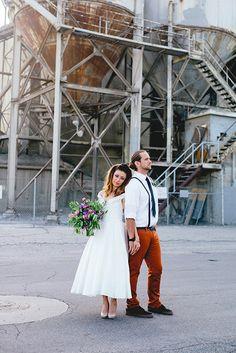 sugar rush photo + video // flowers // industrial // photography // videography // elopement // ideas // purple // wild flowers // downtown wedding / styled shoots // geo // geometric wedding // short wedding dress // alternative wedding // greenery
