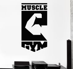 Vinyl Wall Decal Muscle Gym Logo Fitness Club Sports Stickers (333ig)