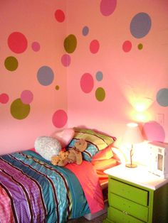 Hand painted polka dots! - cute idea for a little girl's room