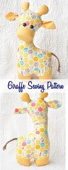 Giraffe sewing pattern (affiliate link). Super cute stuffed animal sewing pattern