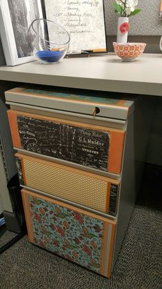 Washi tape and scrapbook paper for my file cabinet: if I have cabinets Cubicle Design, Work Cubicle, Cubicle Ideas, Cubicle Organization, Office Organization At Work, Organization Ideas, Organizing, Small Workspace, Office Workspace