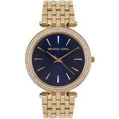 Womens Watches Michael Kors Darci Gold Tone Watch ($345) ❤ liked on Polyvore featuring jewelry, watches, bezel watches, gold tone watches, michael kors watches, michael kors jewelry and bezel jewelry