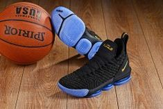2abfff1a4e7 Hot Selling Nike LeBron 16 Black Gold Blue Men s Basketball Shoes James  Trainers