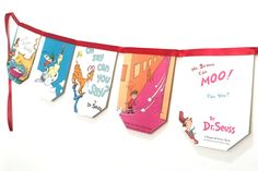 Dr. Seuss Banner - Dr. Seuss Book Banner Titles - Dr. Seuss Party - Dr. Seuss Baby Shower - Thing 1 Thing 2 Party by MyLittleCraftyThings on Etsy https://www.etsy.com/listing/227307736/dr-seuss-banner-dr-seuss-book-banner