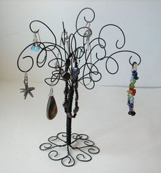 Wire Jewelry Organizer Tree Stand  Earring by TillaGarden on Etsy, $14.00