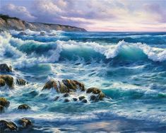 Новости Sea Pictures, Pictures To Paint, Ocean Art, Ocean Waves, Seascape Paintings, Landscape Paintings, Ocean Scenes, Beautiful Ocean, Am Meer