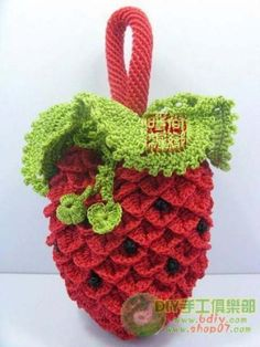 Crocodile stitch strawberry purse for little girls--so cute!  Pattern, but in Russian.